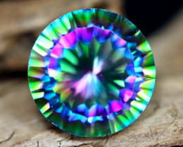 11.74ct Natural Mystic Peacock Topaz Round Cut Lot A1165
