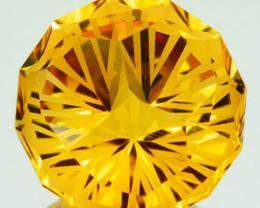 ~CUSTOM CUT~ 5.88 Cts Natural Golden Orange Citrine Fancy Round Brazil