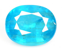 2.37 Cts Un Heated Natural Neon Blue Apatite Loose Gemstone