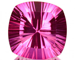 ~CONCAVE CUT~6.82 Cts Candy Pink Topaz 12mm Cushion Cut Brazil