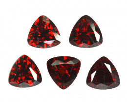 6.94Cts Natural Pretty Red Rhodolite Garnet 7mm Trillion 5Pcs Mozambique