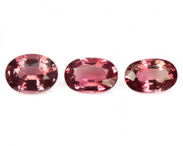 2.92 Cts 3 Pcs 7.40x3.49 mm Oval Shape Natural Pinkish Red Tourmaline