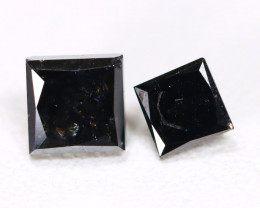 0.86Ct 2Pcs Princess Brilliant Cut Natural Black Diamond B4901