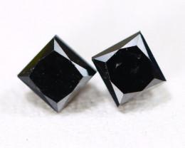 0.65Ct 2Pcs Princess Brilliant Cut Natural Black Diamond AB4902