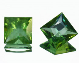 2.72Ct Natural Green Apatite Square  6.50mm Pair