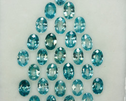 19.66 Cts Natural Silver Blue Zircon 28Pcs Oval 6 X 4mm Cut Parcel Cambodia