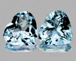 6.00 mm Heart 2 pcs 1.32cts Soft Blue Aquamarine [VVS]