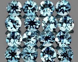 2.50 mm Round 16pcs 1.00ct Blue Aquamarine [VVS]