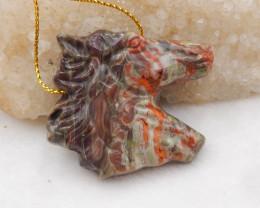 108.5cts Sale Horse Pendant ,Hand Carved Pendant ,Mushroom Jasper Pendant H