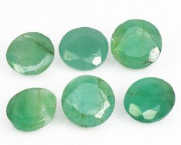 3.17 Cts 6 Pcs Natural Vivid Green Zambian Emerald Loose Gemstone