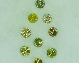0.21Cts Natural Untreated Diamond Fancy Yellow round parcel 1.90mm  Africa