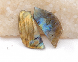 35cts Natural Labradorite Drilled Earrings Bead, stone for earrings making