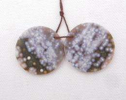 58.5cts Beautiful Ocean Jasper Earrings,Natural Jasper Summer Earrings H110