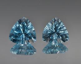 Natural Blue Topaz 9.06 Cts Concave Cut.