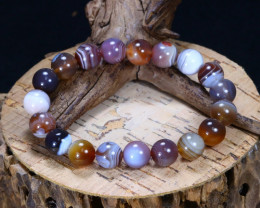 143.65Ct Natural Barded Agate Beads Bracelet B5090
