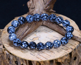 121.60Ct Natural Snowflake Obsidian Beads Bracelet B5094