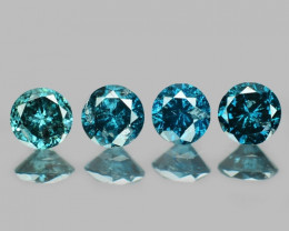 0.36 Cts 4Pcs Sparkling Rare Blue Color Natural Diamond
