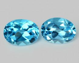 *No Reserve* Blue Topaz 3.08 Carat 2pcs Natural Topaz Gemstones