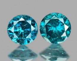 0.16 Cts 2pcs Sparkling Rare Fancy Blue Color Natural Loose Diamond