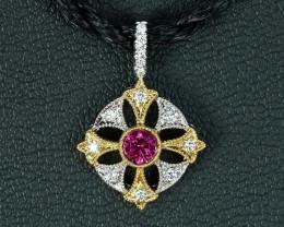 BURMESE RUBY & DIAMOND MALTESE CROSS 18k GOLD PENDANT