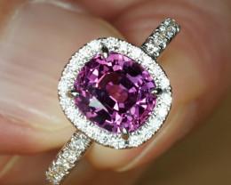 GIA 3.71CT UNHEATED PURPLE SAPPHIRE & DIAMOND HALO 18k RING