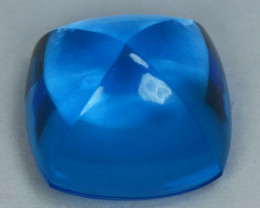 12.55Cts Natural Swiss blue topaz Cushion Sugar loaf  12.50mm