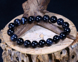 138.95Ct Natural Black Agate Beads Bracelet AB5380