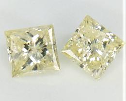 2 pcs/1.04 cts , Princess Brilliant Cut Diamonds , Diamond For Jewelry