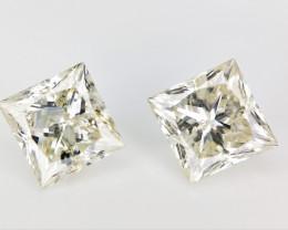 2 Pcs /1.21 cts  , Natural Princess Cut Diamonds , Loose Diamonds