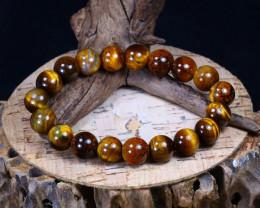 156.90Ct Natural Tiger Eye Beads Bracelet AB5386