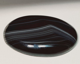105.37 ct Natural Black Lace Agate Oval Cabochon  Gemstone