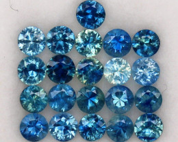 3.97ct.3.4-3.4MM.DIAMOND CUT MULTI COLOR SAPPHIRE NATURAL GEMSTONE 21PCS.