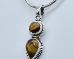 TIGER EYE PENDANT 925 STERLING SILVER NATURAL GEMSTONE JP95