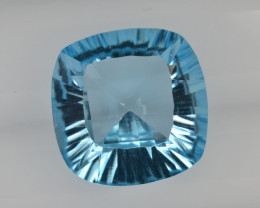 Natural Blue Topaz 7.37 Cts Concave Cut Top Quality.