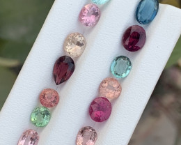 12.55 Carats Transparent Blue,green &pink color Tourmaline Gemstones parcel