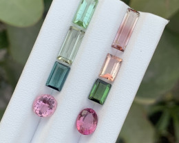 10.45 Carats Blue,green &pink color Tourmaline Gemstones parcel