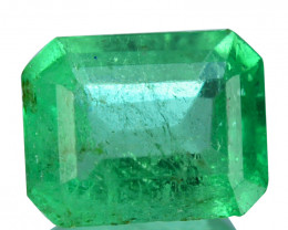Natural Vivid Green Emerald Octagon Cut Colombia 0.31 Cts