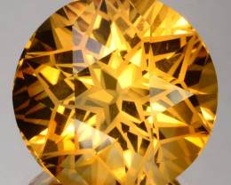 ~CUSTOM CUT~ 22.65 Cts Natural Golden Orange Citrine Fancy Round Brazil