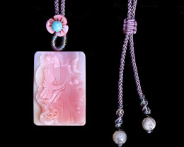 New Arrival Pink Conch Shell Carved Butterfly Necklace Pendant, Matching Ex