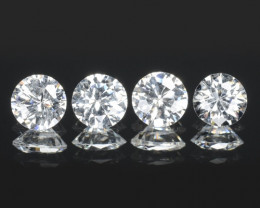 1.23 Carat 4 Pcs Sparkling White Natural Topaz Gemstones