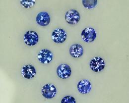 1.95 Cts Natural Purple Blue Tanzanite 3mm Round 15Pcs Tanzania
