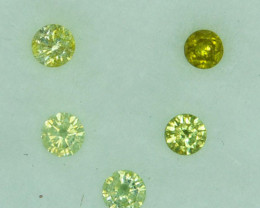 0.23 Cts Natural Untreated Diamond Fancy Yellow round parcel 2.30mm  Africa