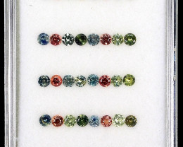 3.76 ct. 2.5-2.7mm 40pcs. Round Diamond Cut 100% Natural Multi-Color Sapphi