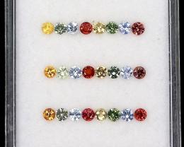 3.76ct. 2.5-2.7mm 40pcs. Round Diamond Cut 100% Natural Multi-Color Sapphir