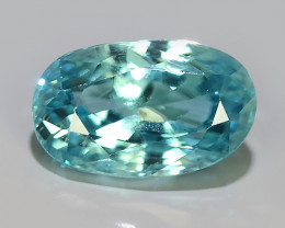 3.85 CTS~TOP LUSTROUS NATURAL CAMBODIA OVAL~BLUE ZIRCON!!