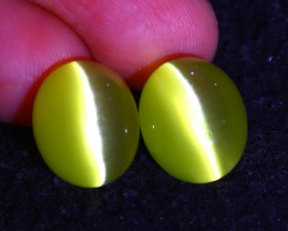 Agate Cat Eye 17.52Ct 2Pcs Natural Yellow Agate Cat Eye EF1503/C1