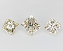 3/0.36 cts , Light Colored Diamond , Princess Brilliant Cut