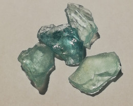 Aquamarine parcel, 11.16ct, four pieces of untreated stones from Afghanista