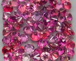 70Pcs/3.78Ct. Round Diamond Cut 2.2 mm.Fancy Color UNHEATED Sapphire Songea