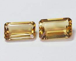 8.04 Cts 2 Pcs Natural Golden Yelow Quartz Gemstones